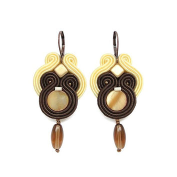 Brown Chandelier Earrings Brown Earrings Long Chandelier Earrings Mother of Pearl Earrings Brown Statement Earrings Lightweight Earrings