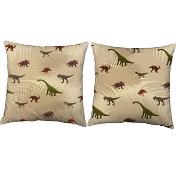 Set of 2 Dinosaur Palms Pillows - Jurassic Print Pillow Covers with or without Cushion Inserts - Small Dino Print, Kids Playroom Pillows