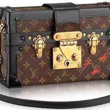 LV Louis Vuitton WOMEN'S MONOGRAM LEATHER BOX SHOULDER BAG