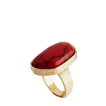 ASOS Nugget Semi Precious Ring - Red