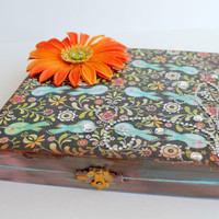 Hand Painted Box, Altered Cigar Box, Jewelry Box, Stash Box, Altered Art Box, Gift Box, Peacock Blue and Orange