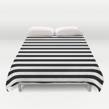 Modern Black White Stripes Monochrome Pattern Duvet Cover by Girly Road