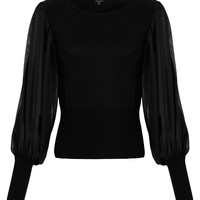 Full Circle Angelique chiffon sleeve jumper Black - House of Fraser