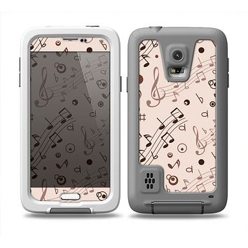 The Tan Music Note Pattern Skin Samsung Galaxy S5 frē LifeProof Case