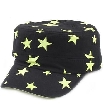 Summer Chic Women Stars Pattern Sun Visor Snap back Cap Adjustable Flat  Dancer Hat