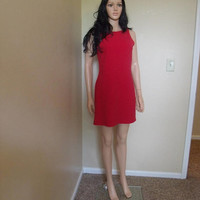 Vintage Little Red Dress Ms Cosmo Business Casual Chic BODYCON SHeath