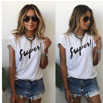 Summer White Women Short Sleeve Alphabets Words Top T-Shirt Top