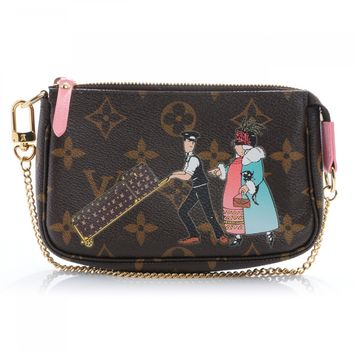 LOUIS VUITTON Monogram Illustre Mini Pochette Accessories Rose