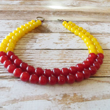 Mustard Yellow and Maroon Necklace/ Jade Necklace/ Statement Necklace/ Bib Style/ Color Block Necklace/ Caroline Glidden / Momma Rocks/