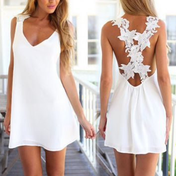 Tank Top White Lace Dress for Women