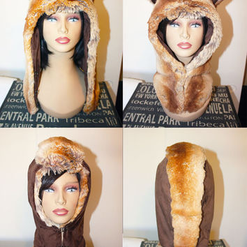 Reversible What does the Fox say half hood - Faux Fur Hats - Scoodie - Spirit Animal