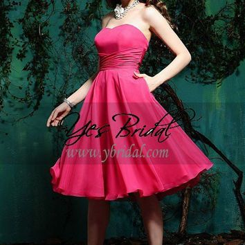 A-line Sweetheart Knee-length Chiffon Winter Formal Prom Evening Dress SAL0365