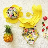 one piece swimsuit floral swimming suit for kids girl toddler girl bathing suits clothes kids swimwear with swimming cap