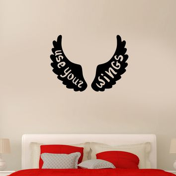 Wall Decal Wings Feathers Words Quote Use Your Wings Vinyl Sticker (ed1127)