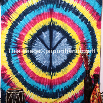 Peace Sign Tye-Dye Tapestry, Tie Dye PEACE SIGN 100% Cotton HIPPIE Tapestry Bedspread, Rasta Tie-Dye, Bohemian Wall Hanging, Indian Tie Dye