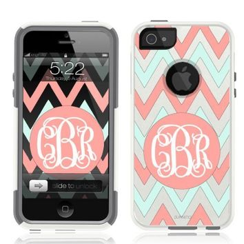 iPhone 5 Case [White] Chevron Monogram Coral [Dual Layer] UnnitoTM *1 Year Warranty* Case Protective [Custom] Commuter Protection Cover iPhone 5S