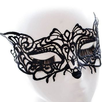 Sultry Fox Black Lace Crochet Halloween Party Mask