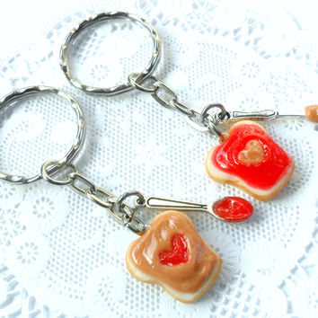 Peanut Butter and Jelly Heart Keychain Set, Strawberry, With Knife & Spoon, Best Friend's