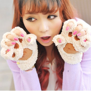 Fluffy Bear/Cat Plush Paw/Claw Glove-Novelty New year soft toweling lady's half covered gloves mittens 4 colors = 1958008388