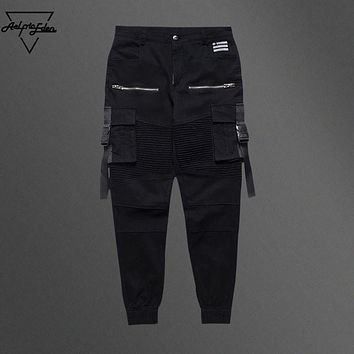 Aelfric Eden Burst Section Assassins Creed Man Pants Spliced Pocket Pleated Cargo Pants Mens Skateboard Ribbon Swag Casual Pants