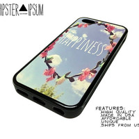Happyness Quote Flower Crown Apple iPhone Case Cover Skin Design 4 4S 5 5S 5C S4 SIV