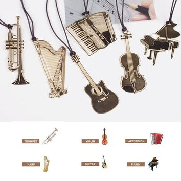 Gold Stationery Book Accessories Metal 1 PC Musical Instruments Shape Nice Gift Bookmark Music Piano Guitar Bookmarks