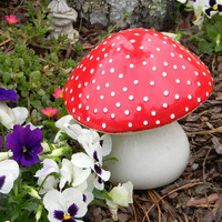 Garden Ceramic MUSHROOM Statue Large RED AMANITA fly Fairy Garden Toadstool  Gnomes red  Poison only if ..eaten.  pottery ready to ship