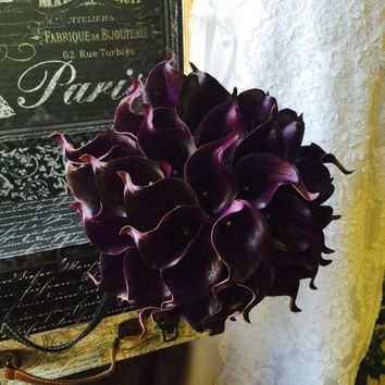 Eggplant Calla Lily Bridal Bouquet, Real Touch Calla Lily Bouquet Purple Bouquet