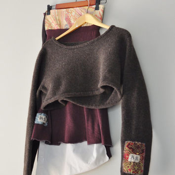 Upcycled Boho Crop Sweater in Chesnut Size Large/ Kanji Symbol Patchwork/ Handstitched Wearable Art as an Obi Style Wrap Companion