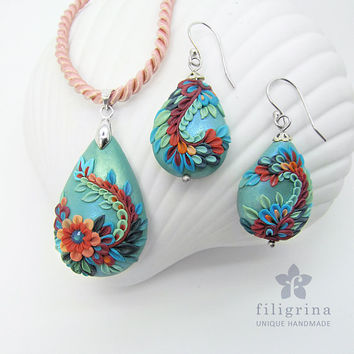 UNDINA - - unique SET of pendant & earrings, with floral motif,  Polymer clay filigree applique technique, Earwire hooks are silver (925)