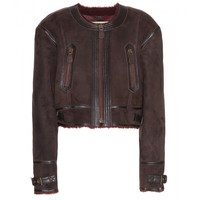 burberry brit - harlesbury suede shearling-lined jacket