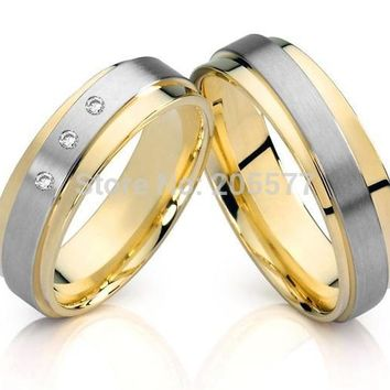 Two-Tone 18K Gold Plated Cubic Zircon Wedding Rings Set