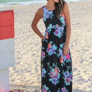 Black Sleeveless Maxi Dress with Mint Floral Print