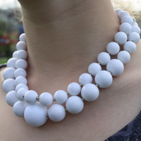 Vintage White Plastic Pearl Two-Strand Necklace (6043)
