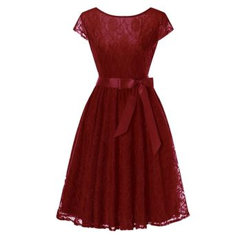 Wine red Lace short sleeved Ball Gown Bridesmaid dresses wedding party prom dress  women fashion clothing