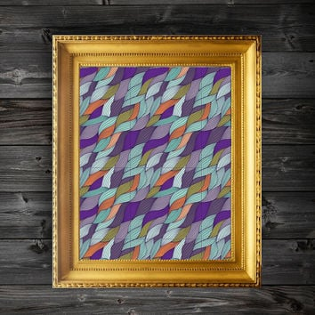 Instant Download Printable Colorful String Pattern Wall Decor