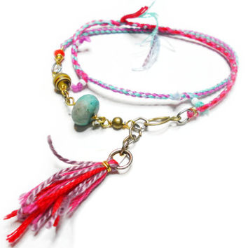 Boho chic double wrap woven friendship bracelet seed bead crystals turquoise coral gold wire charms tassel ends free people indie inspired