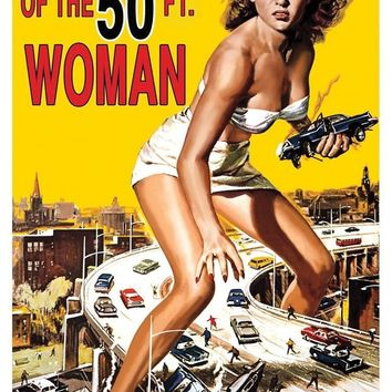 50 Ft Woman Movie Poster Cling awesome for Halloween