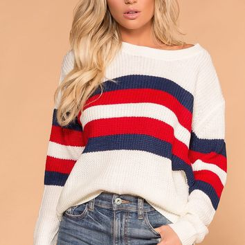 Straightforward White Striped Sweater