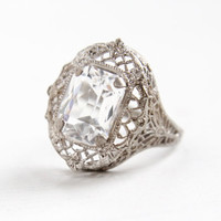 Vintage Art Deco Sterling Silver Clear Glass Stone Ring - 1930s Size 6 1/2 Filigree Flower Statement Emerald Cut Jewelry
