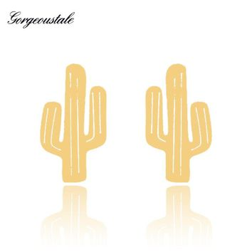 Gold Color Cactus Earrings Fashion Jewelry Stainless Steel Women Stud Brincos Best Friend Gift Boucles D'oreille Femme