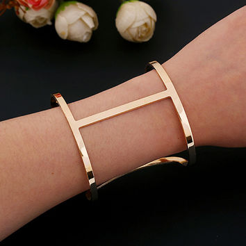 Women's Punk Cuff Silver/Gold Fashion Wide Bangle Bracelet Simple Design Hot Selling Jewelry