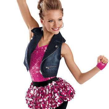 Sequin Biketard with Denim Vest -Weissman Costumes