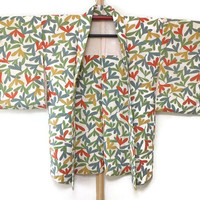 Vintage Haori with Beautiful Floral Prints/ Colorful Floral Jacket/ Kimono Jacket/ Vintage Kimono/ Traditional Costume JA0018VH