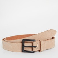 ASOS Leather Belt In Camel With Black Coated Buckle