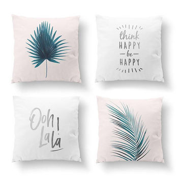 SET of 4 Pillows, Watercolor Art, Think Happy, Tropical Decor, Gold Pillow, Palm Leaf Green Pillow, Bed Pillow, Throw Pillow, Cushion Cover