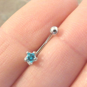 Tiny Aqua Blue Crystal Star Eyebrow Ring Rook Ear Piercing