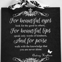 Audrey Hepburn Beautiful Eyes Lips Poise Custom Damask Fleur De Lis Wall Plaque