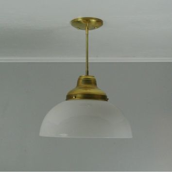 Vintage Milk Glass Dome Brass Pendant Light