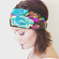 Vintage Retro Floral Rose Headband Free Spirit Hippie Head Wrap